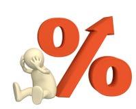 Augmentation du taux d'intérêt sous des crédits Image libre de droits