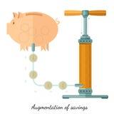 Augmentation of saving piggy bank and pump Stock Photography