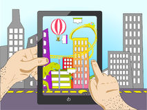 Augmented reality. Man holding a tablet and see augmented reality. city ​​is changing vector illustration