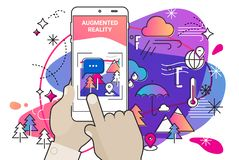 Augmented reality amoeba style mobile app concept. Augmented reality mobile app concept, for travelling navigation and outdoor activity, mobile geolocation and royalty free illustration