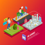 Augmented Reality AR Games Isometric Poster Stock Photography
