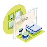 Augmented reality in architecture. Isometric illustration Royalty Free Stock Photos