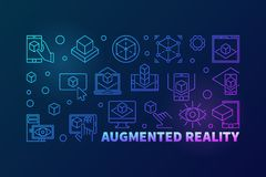 Augmented reality bright vector horizontal outline illustration royalty free illustration