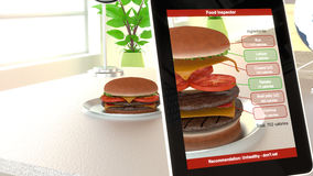 Augmented reality burger food analysis. Hamburger on a plate on an office desk seen through an app on a tablet splitting the burger showing all calories of the royalty free illustration