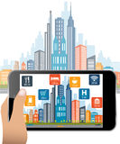 Augmented Reality city mobile application Royalty Free Stock Photo