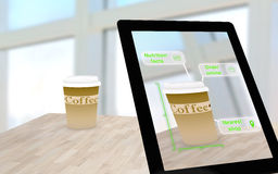 Augmented reality coffee on a table Stock Photos