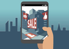 Augmented reality concept as example for virtual reality and mobile and digital business royalty free illustration
