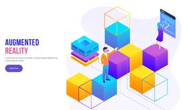 Augmented Reality concept based page design with people on top of isometric blocks interact with smart screen. Augmented Reality concept based page design with stock illustration