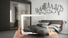 Augmented reality concept. Hand holding tablet with AR application used to simulate furniture and interior design products in real. Home, minimalist bedroom vector illustration
