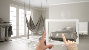 Augmented reality concept. Hand holding tablet with AR application used to simulate furniture and interior design products in real. Home, bedroom with hammock stock illustration