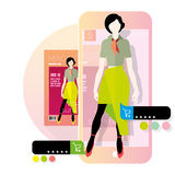 Augmented reality in e-commerce. Flat illustration Royalty Free Stock Photos