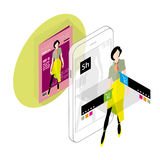 Augmented reality in e-commerce. Isometric illustration Stock Photos