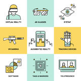 Augmented reality flat icons set Royalty Free Stock Photography