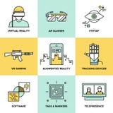 Augmented reality flat icons set royalty free illustration