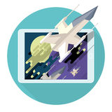 Augmented reality in game for the mobile device. Spaceship in star space. Action, battle Royalty Free Stock Photography