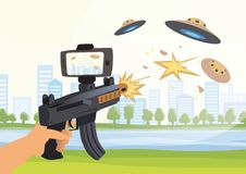 Augmented reality games. Boy with AR gun playing a shooter. Game weapon with mobile phone. Vector illustration. royalty free illustration