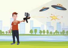 Augmented reality games. Boy with AR gun playing a shooter. Game weapon with mobile phone. Vector illustration. vector illustration