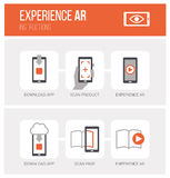 Augmented reality: how it works. Augmented reality, how it works and step by step procedure: app download, product scan and ar experience, icons set Royalty Free Stock Photos