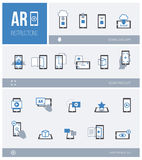 Augmented reality: how it works. Augmented reality, how it works and step by step procedure: app download, product scan and ar experience, icons set Royalty Free Stock Photo