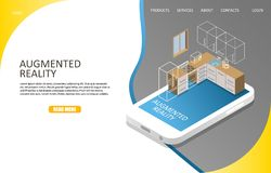 Augmented reality landing page website vector template. Augmented reality landing page website template. Vector isometric illustration. Augmented reality vector illustration