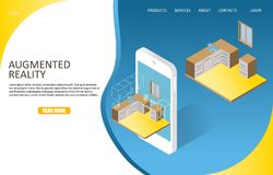 Augmented reality landing page website vector template. Augmented reality landing page website template. Vector isometric smartphone with augmented reality app vector illustration