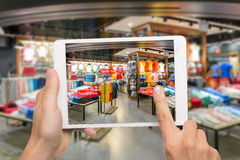 Augmented Reality Marketing Concept. Hand Holding Digital Tablet Royalty Free Stock Photography
