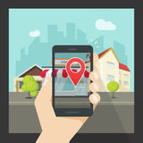 Augmented reality on mobile phone, virtual location smartphone navigation. Augmented reality on mobile phone, concept of virtual popular street location on Stock Photos