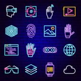 Augmented Reality Neon Icons stock illustration
