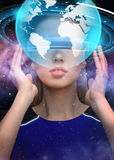Woman in virtual reality 3d glasses with earth Royalty Free Stock Images