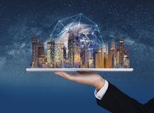 Augmented reality, smart technology, smart city, real estate and blockchain business. Element of this image are furnished by NASA stock image