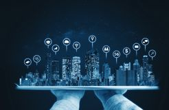 Augmented reality technology, Modern buildings hologram and technology icons. Smart city, internet and networking smart technology stock photo