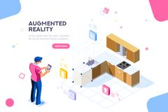 Augmented Reality furniture Vector Design. Augmented reality visualization on device. Character on a concept of furniture application to build interior catalog stock illustration