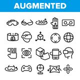 Augmented, Virtual Reality Linear Vector Icons Set royalty free illustration