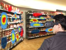 Augmented and virtual reality technology futuristic concept, Retailer use augmented combine virtual reality technology to find th royalty free stock photography