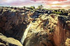 Augrabies cai por do sol do norte de África do Sul do cabo do parque nacional Fotos de Stock