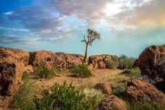 Augrabies cai por do sol do norte de África do Sul do cabo do parque nacional Imagem de Stock Royalty Free