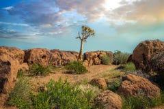 Augrabies cai por do sol do norte de África do Sul do cabo do parque nacional Imagem de Stock