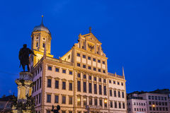 Augsburg City Hall at night Stock Images