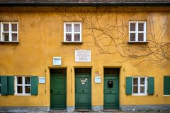 Augsburg: Fuggerei - the world oldest social housing. Bavaria, Germany stock photos
