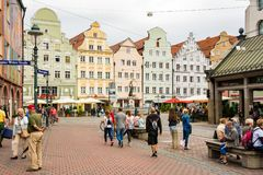 People at the historic center of Augsburg Royalty Free Stock Photo