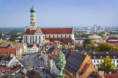 Augsburg, Germany. Downtown skyline from above royalty free stock images