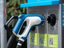 Augsburg, Germany - May 18, 2019: Electronic charging station in the city royalty free stock photo