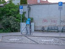 Augsburg, Germany - May 7, 2019: Electronic charging station in the city stock image