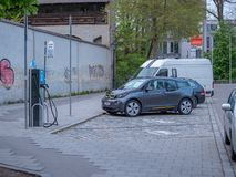 Augsburg, Germany - May 7, 2019: Electronic charging station in the city stock images