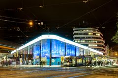 Modern illuminated bus station in Augsburg. AUGSBURG, GERMANY - NOVEMBER 2: Modern illuminated bus station at the Koenigsplatz in Augsburg, Germany on November 2 Royalty Free Stock Photography