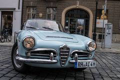 Alfa Romeo oldtimer car. Augsburg, Germany - October 1, 2017: Alfa Romeo oldtimer car at the Fuggerstadt Classic 2017 Oldtimer Rallye on October 1, 2017 in Stock Images