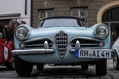 Alfa Romeo oldtimer car. Augsburg, Germany - October 1, 2017: Alfa Romeo oldtimer car at the Fuggerstadt Classic 2017 Oldtimer Rallye on October 1, 2017 in Royalty Free Stock Photo