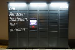 Amazon Locker station located next to an Aldi supermarket. royalty free stock photography