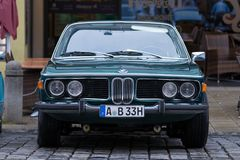 BMW 3.0 CSi oldtimer car. Augsburg, Germany - October 1, 2017: BMW 3.0 CSi oldtimer car at the Fuggerstadt Classic 2017 Oldtimer Rallye on October 1, 2017 in Royalty Free Stock Photos
