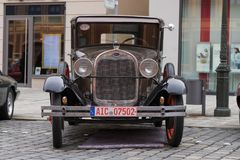 Ford oldtimer car. Augsburg, Germany - October 1, 2017: Ford oldtimer car at the Fuggerstadt Classic 2017 Oldtimer Rallye on October 1, 2017 in Augsburg, Germany Stock Image